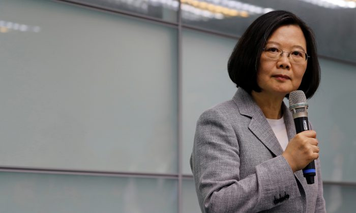 Taiwan President Tsai Ing-wen speaks before signing up for Democratic Progressive Party's 2020 presidential candidate nomination in Taipei, Taiwan on March 21, 2019. (Tyrone Siu/Reuters)