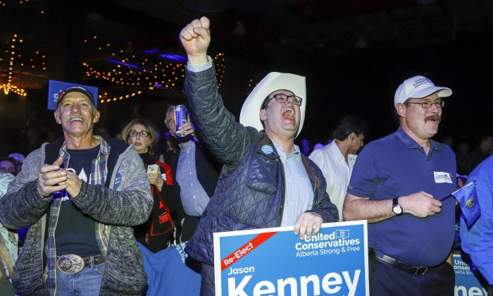 United Conservative Party supporters celebrate in Calgary on April 16, 2019. (The Canadian Press/Jeff McIntosh