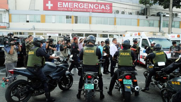 police in riot gear hospital