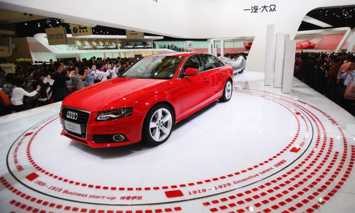 An Audi A4L 3.2 Quattro is displayed during the Auto Shanghai 2009 show at the Shanghai New International Expo Center on April 22, 2009. (Feng Li/Getty Images)