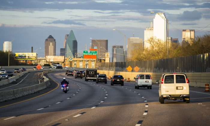 A view of the eastbound Interstate 30 near Dallas Love Field Airport in Dallas, Texas, on March 12, 2016. (Ashley Landis-Pool/Getty Images)