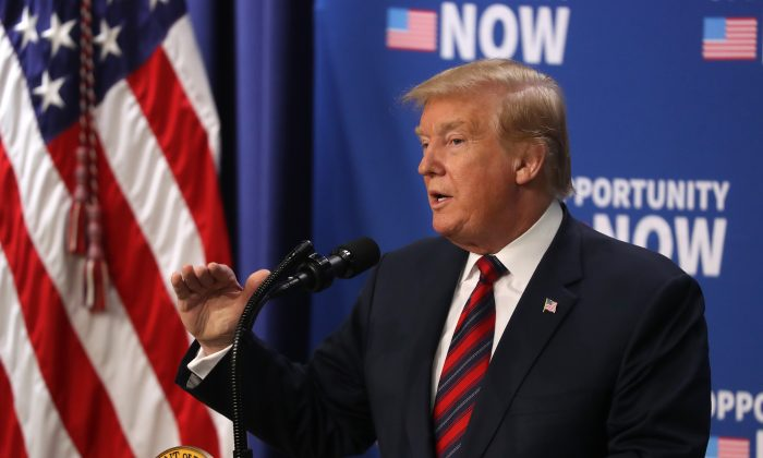 President Donald Trump speaks during an Opportunity Zone conference with state, local, tribal and community leaders, in the Eisenhower Executive Office Building in Washington, on April 17, 2019. (Mark Wilson/Getty Images)