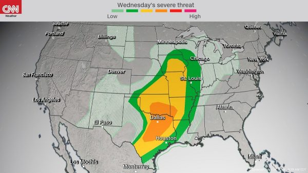 The storms, expected to organize Wednesday afternoon across the southern Plains