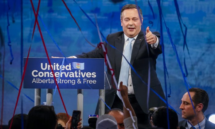 Alberta premier-designate Jason Kenney addresses supporters in Calgary on April 16, 2019, after his United Conservative Party won a majority government in the province's elections.  (The Canadian Press/Jeff McIntosh)