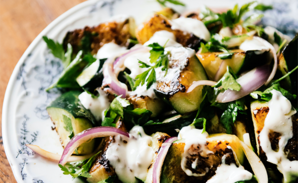 Blistered Cucumbers with cumin yogurt and parsley from Ruffage