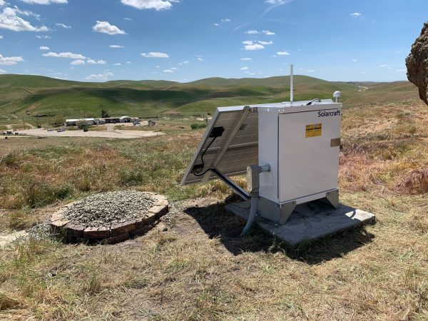 This April 12, 2019 photo provided by the U.S. Geological Survey shows an earthquake monitoring station near Bakersfield, Calif. In a report released on Thursday, April 18, 2019, there are 10 times more earthquakes than seismologists had thought. But most of those earthquakes are so tiny that no one feels them. (USGS via AP)