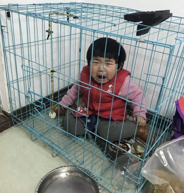Girl in cage