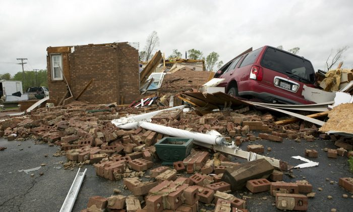 The leveled house of Delores Anderson in Franklin County, Va., on April 19, 2019. (Heather Rousseau/The Roanoke Times via AP)