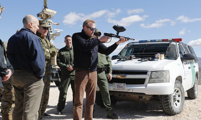 Armed Mexican Troops Question American Soldiers on US Side of Border