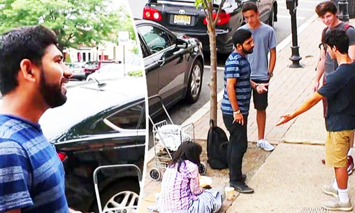 Stranger Spots Teens Abusing 'Homeless' Woman on the Street & Decides Enough's Enough