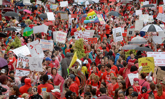 Crowds fill Bicentennial Plaza outside of the North Carolina Legislative Building during the March for Students and Rally for Respect on May 16, 2018 in Raleigh, North Carolina. (Sara Davis/Getty Images)