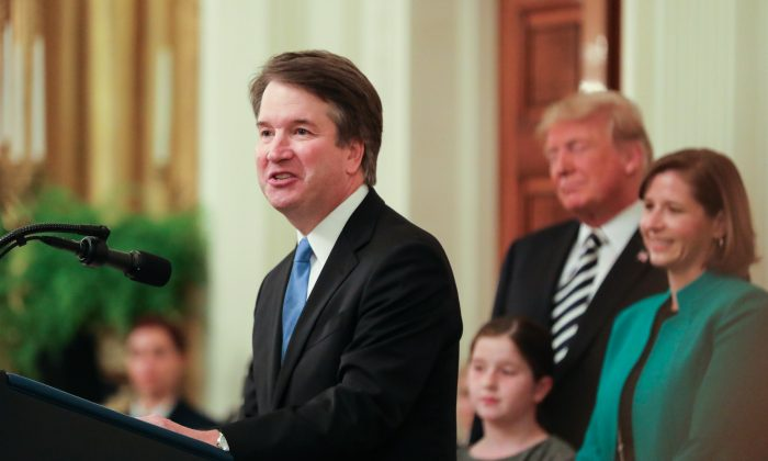 Brett Kavanaugh speaks after being sworn-in as associate justice of the Supreme Court at the White House in Washington on Oct. 8, 2018. (Holly Kellum/The Epoch Times)