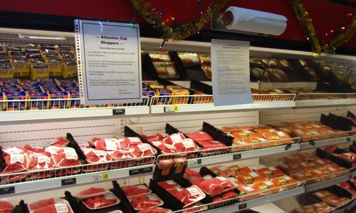 Meat shelves in a grocery store. (Tim Boyle/Newsmakers/Getty Images)