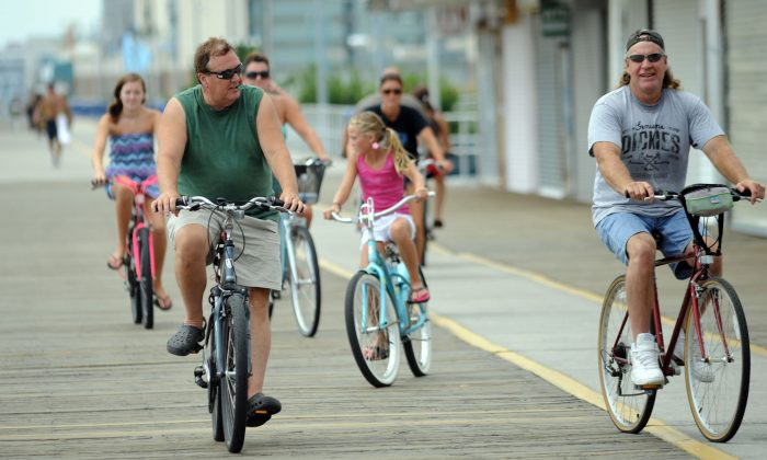 Cyclists on the boardwalk in Wildwood, N.J., on August 26, 2011. (William Thomas Cain/Getty Images)