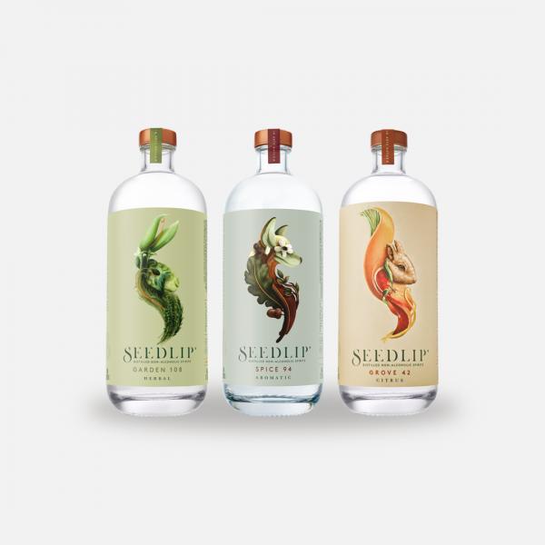 seedlip distilled non alcoholic spirits three bottles