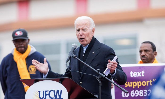 Former Vice President Joe Biden in front of a Stop & Shop in support of union workers on April 18, 2019, in Dorchester, Mass. (Scott Eisen/Getty Images)