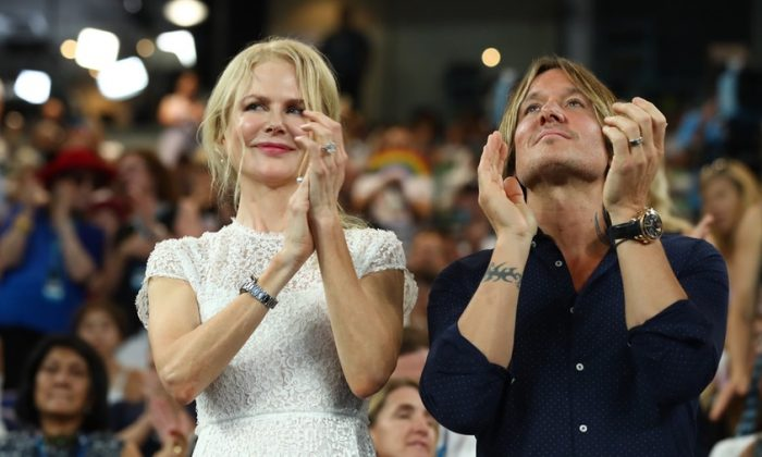 Nicole Kidman and Keith Urban attend the Women's Day Ceremony during day 11 of the 2019 Australian Open at Melbourne Park in Melbourne, Australia on Jan. 24, 2019. (Julian Finney/Getty Images)