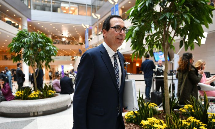 Treasury Secretary Steven Mnuchin is seen during the IMF World Bank Spring Meetings at International Monetary Fund Headquarters in Washington on April 11, 2019. (MANDEL NGAN/AFP/Getty Images)