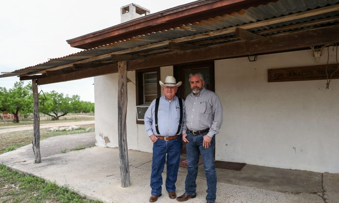 Richard Guerra (L) and his son Jody Guerra on their ranch, La Anacua Ranch, near Rio Grande City, Texas, on March 22, 2019. (Charlotte Cuthbertson/The Epoch Times)