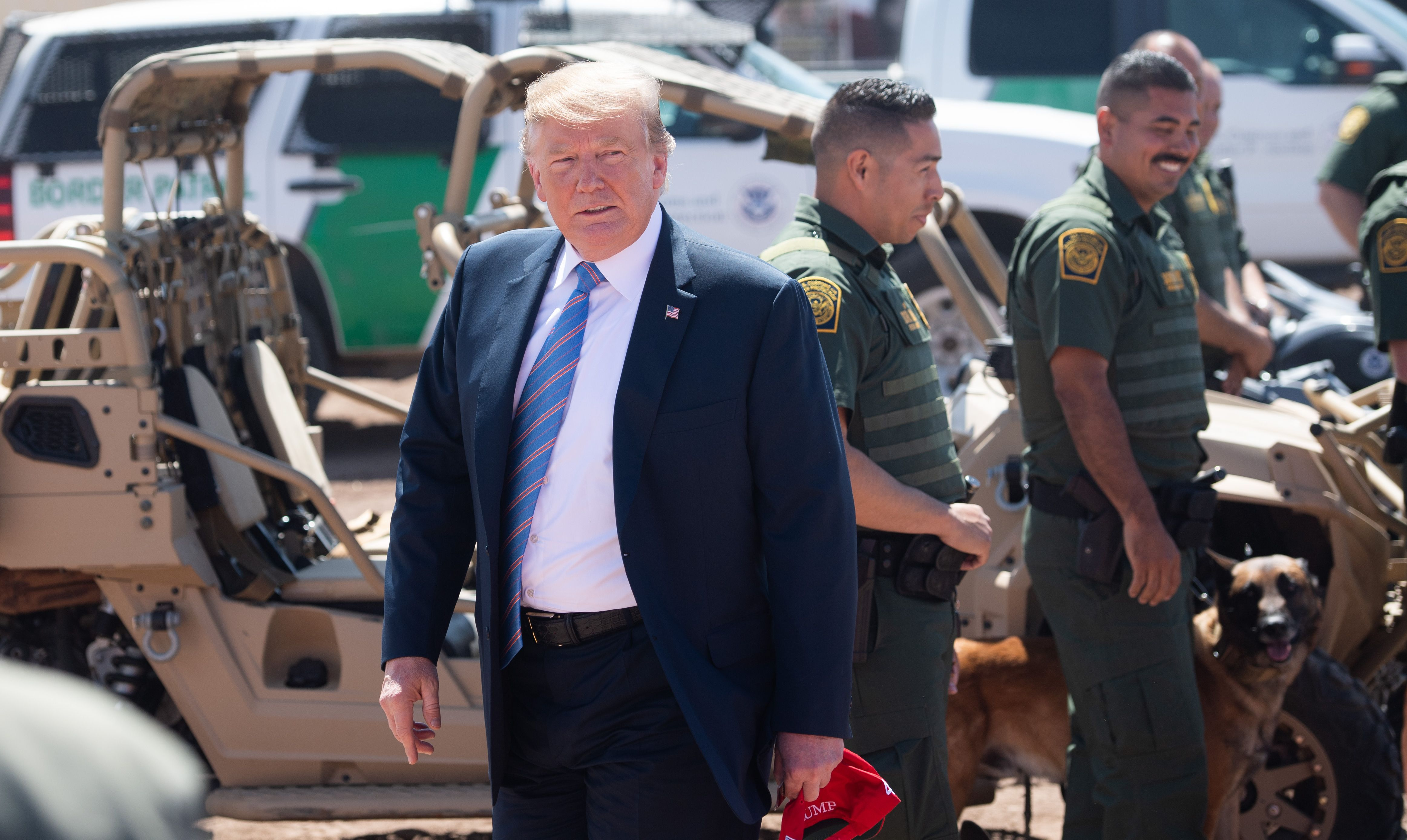 President Donald Trump with members of the US Customs and Border Patrol in Calexico