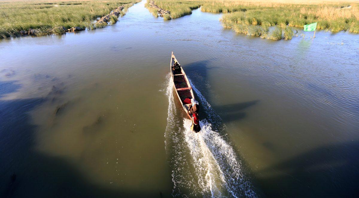 An Iraqi Marsh Arab man rides a boat at the Chebayesh marsh in Dhi Qar province