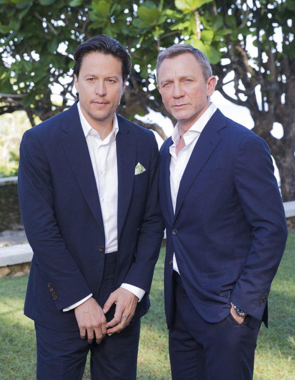 Director Cary Joji Fukunaga, left, and actor Daniel Craig pose
