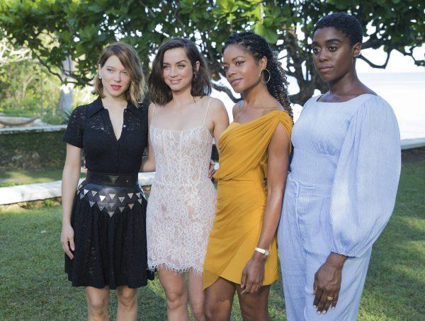 Actresses Lea Seydoux, from left, Ana de Armas, Naomie Harris and Lashana Lynch pose for photographers