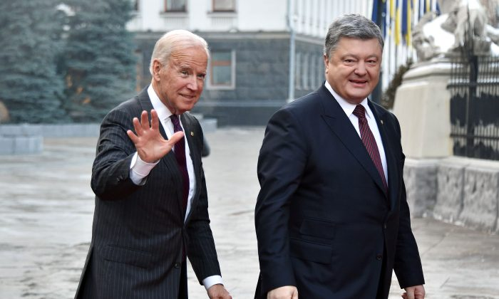 Vice President Joe Biden upon his arrival for a meeting with Ukrainian President Petro Poroshenko Kyiv on Jan. 16, 2017. (GENYA SAVILOV/AFP/Getty Images)