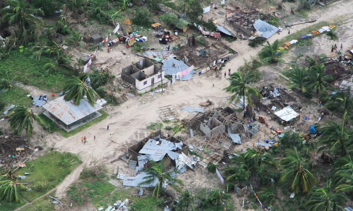 The aftermath of Cyclone Kenneth is seen in Macomia District, Cabo Delgado province, Mozambique, on April 27, 2019. (OCHA/Saviano Abreu/via Reuters)