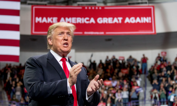 President Donald Trump arrives at a rally at Resch Center Complex in Green Bay, Wis., on April 27, 2019. (Andrew Harnik/AP)