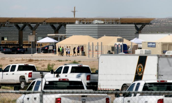 View of a temporary detention center for illegal underage immigrants in Tornillo, Texas, near the Mexico-U.S. border, in Chihuahua state, Mexico, on June 18, 2018. (HERIKA MARTINEZ/AFP/Getty Images)
