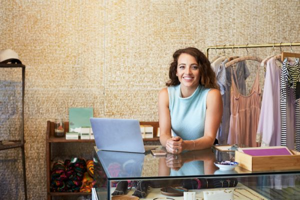 woman working in clothes shop