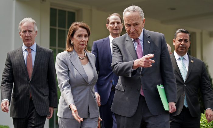 Congressional Democrats, including (L-R) House Ways and Means Committee Chairman Richard Neal (D-MA), Speaker of the House Nancy Pelosi (D-CA), Senate Finance Committee ranking member Sen. Ron Wyden (D-OR), Senate Minority Leader Charles Schumer (D-NY) and Rep. Ben Ray Lujan (D-NM), walk out of the White House before talking with reporters following a meeting with President Donald Trump April 30, 2019 in Washington. (Chip Somodevilla/Getty Images)