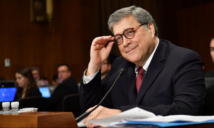 Attorney General William Barr testifies before the Senate Judiciary Committee on May 1, 2019, on Capitol Hill in Washington. (Nicholas Kamm/AFP/Getty Images)