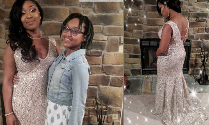 Courtney Lewis, 14, and sister Mikayla wearing the prom dress Courtney made on April 2, 2019. (Crystal Lewis/Instagram)