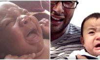 Hilarious Dad Gives Crying Newborn a Taste of His Own Medicine