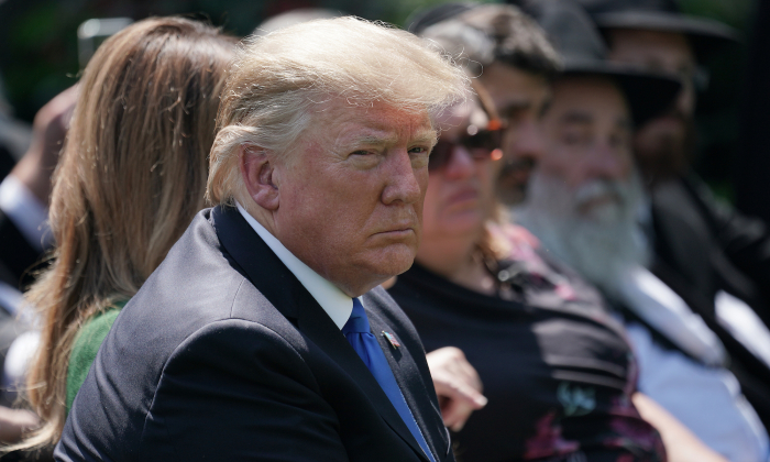 President Donald Trump hosts a National Day of Prayer service in the Rose Garden at the White House in Washington on May 2, 2019. (Chip Somodevilla/Getty Images)
