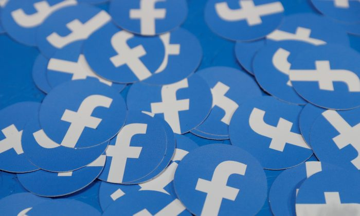 Stickers bearing the Facebook logo are pictured at Facebook Inc's F8 developers conference in San Jose, Calif., on April 30, 2019. (Stephen Lam/Reuters)