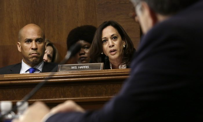 Sen. Kamala Harris (D-Calif.) speaks during Attorney General William Barr's testimony before the Senate Judiciary Committee on May 1, 2019. (Alex Wong/Getty Images)