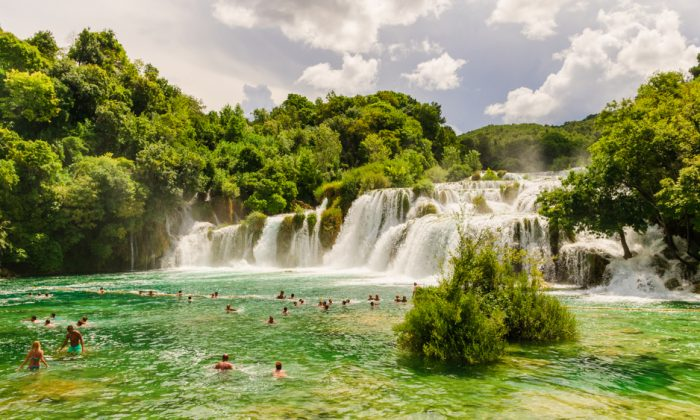 Skradinski Buk, the most famous of the waterfalls in Krka National Park, ends in an enormous natural swimming pool. (Shutterstock)