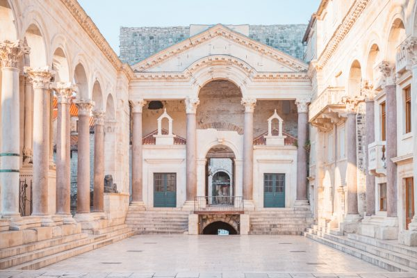 roman peristyle court in diocletians palace split croatia