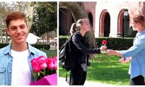 Video: Giving Roses for Valentine's Day at USC