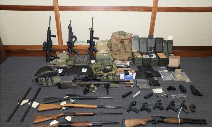 Firearms and ammunition that was in the motion for detention pending trial in the case against Christopher Hasson, who faces domestic terror allegations. (U.S. District Court via AP)