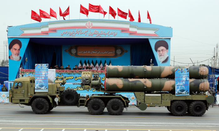 A Russian-made, S-300 missile system drives in front of the officials' stand during a military parade marking the annual Iranian National Army Day in Tehran, on April 18, 2019. (AFP/Getty Images)