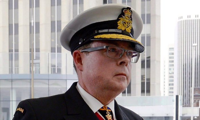 Vice-Admiral Mark Norman arrives for his first court appearance on charges of breach of trust in Ottawa on April 10, 2018. (Justin Tang/The Canadian Press)