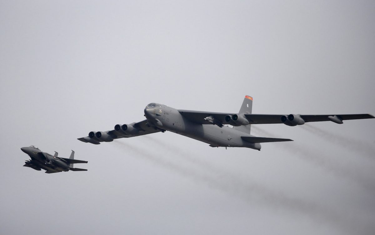 FILE PHOTO: A U.S. Air Force B-52 flies over Osan Air Base in Pyeongtaek