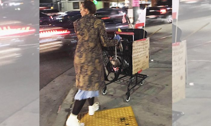 Only This Lady Cared for Homeless War Vet's Cart After He Collapsed and Was Taken Away