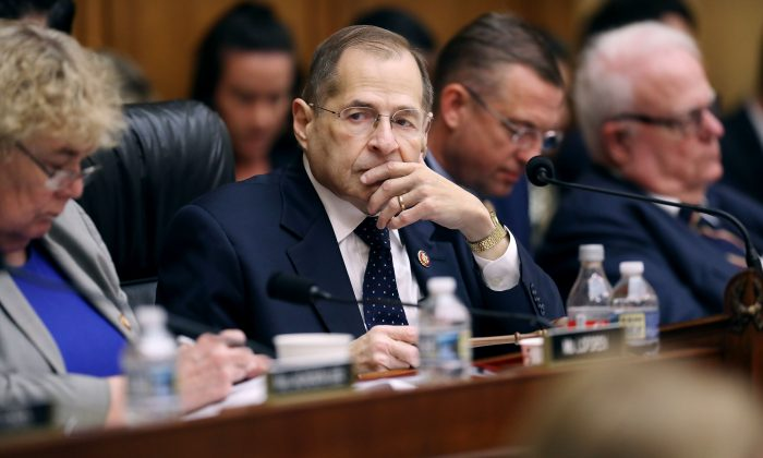 House Judiciary Committee Chairman Jerrold Nadler (D-NY) (C) presides over a mark-up hearing where members may vote to hold Attorney General William Barr in contempt of Congress, on May 08, 2019 in Washington, DC. (Chip Somodevilla/Getty Images)