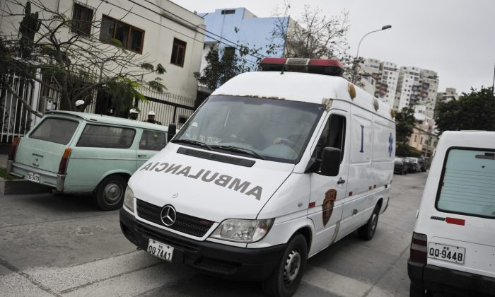 An ambulance arrives at a hospital in Lima, Peru, in a file photo. (Ernesto Benavides/AFP/Getty Images)