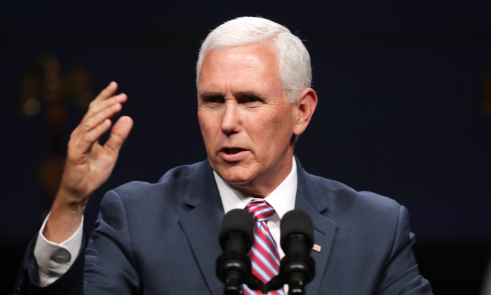 Vice President Mike Pence delivers a keynote address during Access Intelligence's Satellite 2019 Conference and Exhibition at the Walter E. Washington Convention Center in Washington on May 6, 2019.  (Photo by Chip Somodevilla/Getty Images)